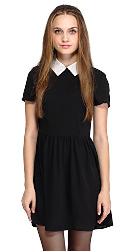 Halife Teen Girls' Short Sleeve Keyhole Back Peter Pan Collar Petite Doll Dress (L, Black) (Black Peter Pan Collar Dress compare prices)