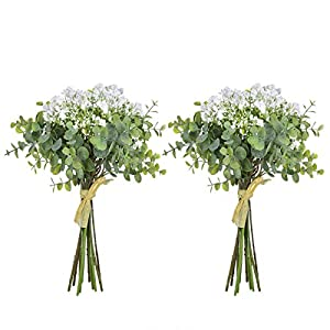 Anna Homey Decor Fake Flowers Flower Bouquets,Total of 6 Baby Breath Flowers and 6 Silver Dollar Eucalyptus Artificial Flowers for Home Office Indoor Outdoor Wedding Aisle Decoration 84