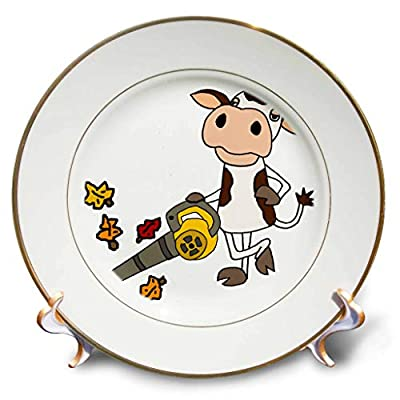 3dRose All Smiles Art - Funny - Cute Funny Unique Cow Using Leaf Blower Cartoon - Plates