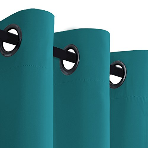 H.VERSAILTEX Blackout Curtains & Drapes(Thermal Insulated Small Curtain Bedroom)-52 inch Wide 63 inch Long-Grommet Top-Solid in Turquoise Blue(Set of 1)