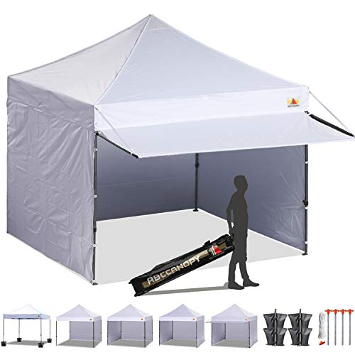 - ABCCANOPY 10x10 EZ Pop up Canopy Tent Instant Shelter Commercial Portable Market Canopy with 4 Removable Zipper End Side Walls & Wheeled Bag, Bonus 4 Sand Bags & 23 Square Feet of Awning (White)