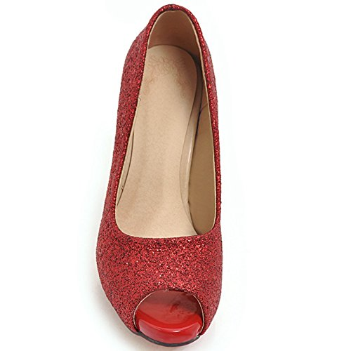 Wedding Peep Thin Shoes Party Platform Sequins KingRover 2Red Fabric Shoes Sequin High Heel toe Women's Pumps waPgqSIf
