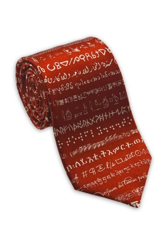 Josh Bach Men's Foreign Languages Silk Necktie Red, Made in USA