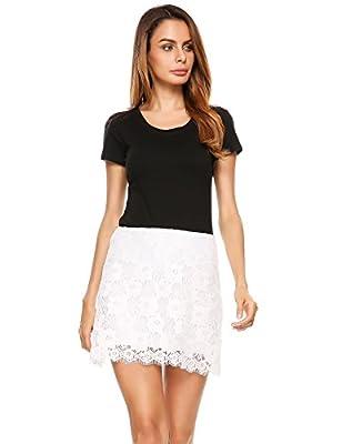 Zeagoo Women's Lace Mini Skirt Stretchy Short Pencil Skirt