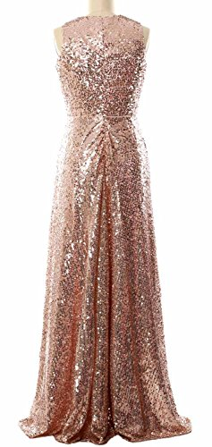 MACloth Women A Line Sequin Long Bridesmaid Dress Evening Formal Party Gown Plateado