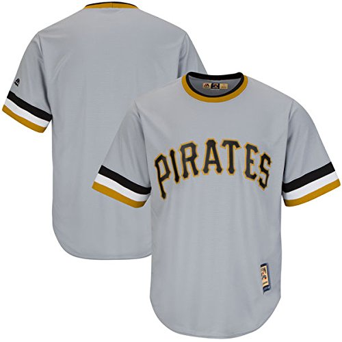 Majestic Athletic Pittsburgh Pirates MLB Men's Big and Tall Cooperstown Team Jersey Grey (XLT)