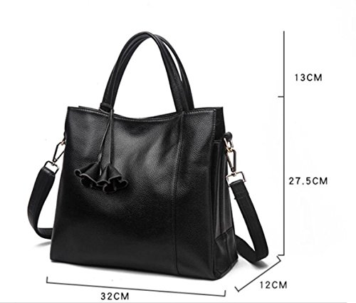Purse Black Women Small Layer Handbags Header MYLL Tassel Leisure Crossbody Shoulder Wallets Bags Fashion Black Cowhide Leather SYWaq1