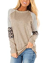 Women's Long Sleeve Leopard Color Block Tunic Comfy Stripe Round Neck T Shirt Tops
