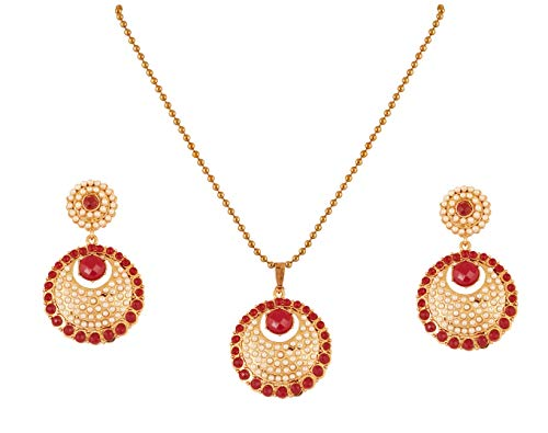 - Touchstone New Indian Bollywood Traditional Studded Style Faux Ruby Pearls Chandballi Designer Jewelry Pendant Set in Antique Gold Tone for Women.