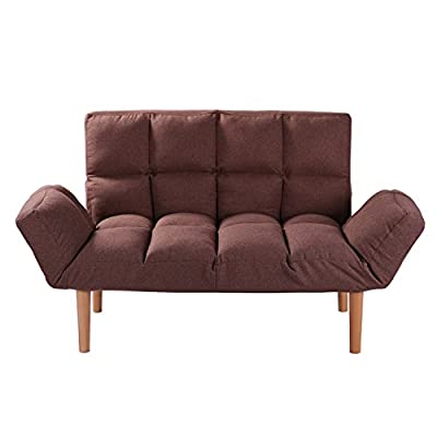 Convertible Loveseat Folding Couch Modern Small Foldable Futon Sofabed with Solid Wood Legs for Kids and Apartment,QVB… - CONVERTIBLE FUTON COUCH:Can be used as a normal sofa but also tufted sofa sleeper.Wonderful convertible loveseat. WASHABLE DESIGN:Brown futon sofa cover can be took off for washing. Tufted futon sofa can be your great sleeper place. WOODEN LEGS&EASY SET UP:Metal frame with solid beech wood legs. Easy set up,no tools needed. - sofas-couches, living-room-furniture, living-room - 41YpD%2BZiIoL. SS400  -