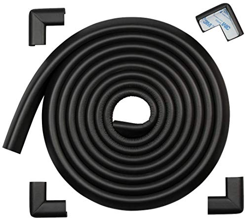 Roving Cove | Baby Proofing Edge Protectors & Corner Guards | Safety Foam Fireplace & Table Bumper | Pre-Taped Corners | Safe Edge & Corner Cushion |16.2 ft [15 ft Edge + 4 Corners] | Onyx Black
