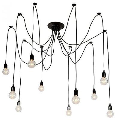 Light Society Tentacle 10-Light Chandelier Swag Pendant, Matte Black, Modern Industrial Lighting Fixture (LS-C105)