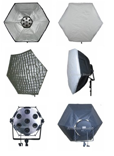 ''Ardinbir Studio Photography 7 head Fluorescent Continuous Lamp Light bulb socket panel with 38''''/95cm Softbox, white diffuser & Eggcrate Grid '' by Ardinbir Studio