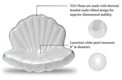 TGG Colossal Sea Shell Pool Float/ Swimming Pool Inflatable Raft 62 x 54 x 54 inches (Pearl White w/ White Handles) by Tgg (Image #5)