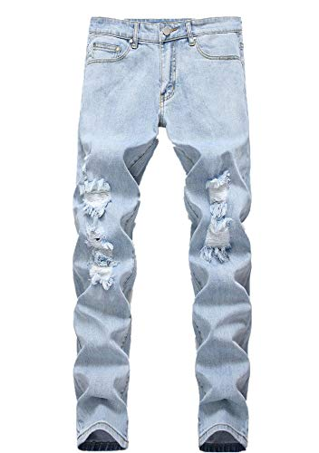 Boy's Light Blue Skinny Fit Ripped Destroyed Distressed NO Stretch Slim Jeans Pants (Best Looking Ripped Jeans)