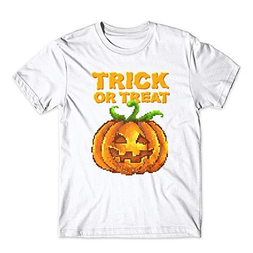 Trick Or Treat Halloween Jack O Lantern T-Shirt 100% Cotton Premium Tee New White (Medium)]()