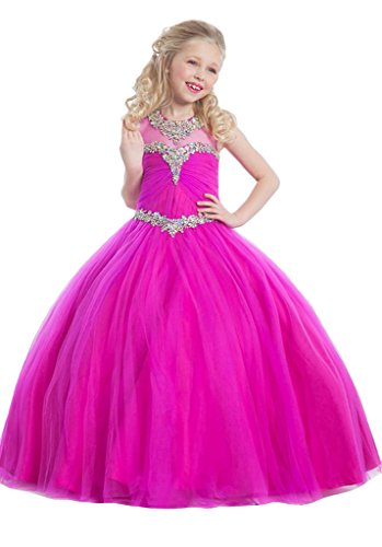 GreenBloom Girls' Tulle Jewel Hollow Beads Pageant Ball Gowns Dresses Plum 8
