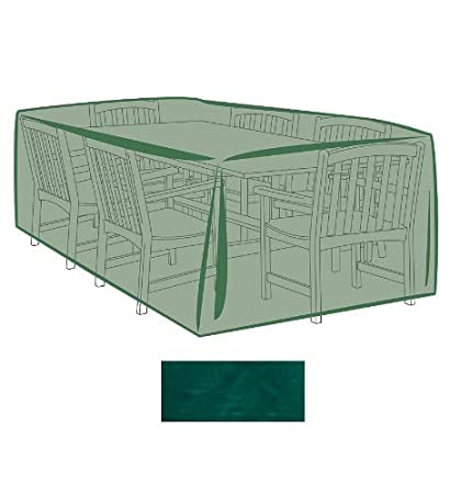 Outdoor Furniture All-Weather Cover for Large Rectangle Table & Chairs, in Green