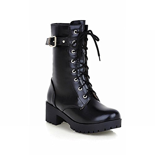 Carolbar Women's Lace up Buckle Combat Fashion Cosplay Mid Heel Motorcycle Boots