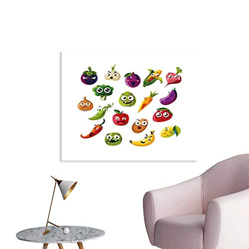 J Chief Sky Emoji Wallpaper Sticker Fruits and Vegetables Carrot Banana Pepper Onion Garlic Food Cartoon Style Symbols Personalized Wall Decals W48 xL32 ()