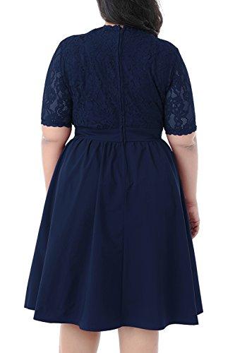 Nemidor Women's Half Sleeves V-Neckline Lace Top Plus Size Cocktail Party Swing Dress (Navy, 20W) by Nemidor (Image #2)