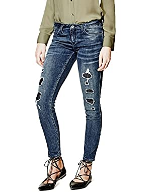 GUESS Women's Low-Rise Power Skinny Jeans in Waterfront with Destroy Wash