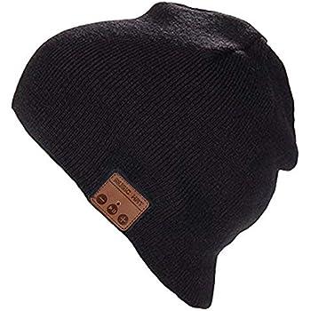 7ec11714ee7 Happy-top Bluetooth Music Soft Warm Beanie Hat Cap Stereo Headphone Headset  Speaker Wireless Mic Hands-Free Men Women Gift (Black)