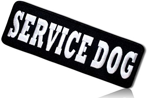 """Unique & Custom {6"""" x 2"""" Inch} 1 of [Glue-On, Iron-On & Sew-On] Embroidered Applique Patch Made of Natural Cotton w/Rounded Rectangle Service Dog Animal Training Badge {Black, White} + Certificate"""