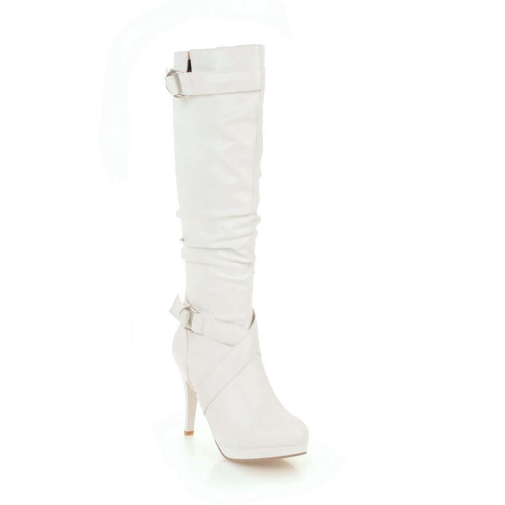 SaraIris Womens Fashion Buckle Strap Thin High Heel Knee High Boots