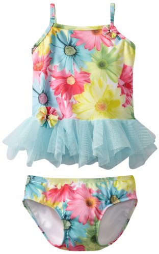 Piece Mack Swimsuit 2 Kate - Kate Mack Baby Girls' Dipped In Daisies Swim 2 Piece, Blue/Pink/Yellow, 12 Months