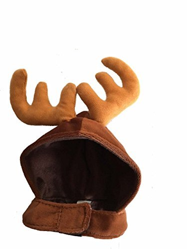 [Small Brown Pet Antlers Christmas Holiday Hat for kitten Cats Dog Accessories] (Halloween Costumes Violet)