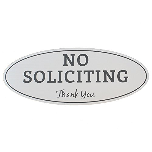 "No Soliciting Sign - Brushed Silver with Black Letters - Laser Engraved Sign - Medium Size 2.8"" x 7"""