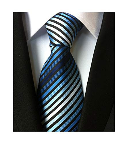 (Secdtie Men's Narrow Stripe Pattern Tie Blue White Black Business Necktie TW08)