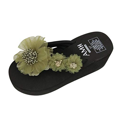 Cenglings Women Summer Flowers Bohemian Style Slippers Party Shoes High Chunky Heel Platform Slippers Beach Sandals Green