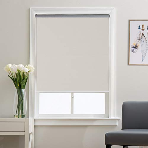 Grandekor Window Blackout Blinds Room Darkening Shade Roller Shades for Bedroom, Black Out 99% Light & UV, Thermal, Cordless and Easy to Pull Down & Up, Cream, 35
