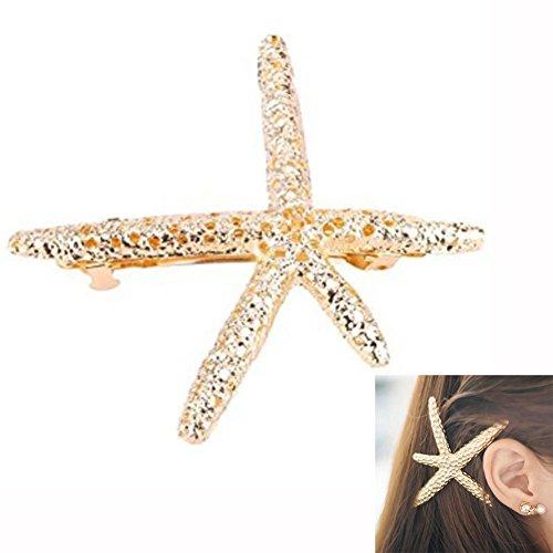 Starfish Hair Clip, Sun Run Fashion Stylish Metal Starfish Hairpin Special Sea Lover Star Hair Clip for Women Girl Baby