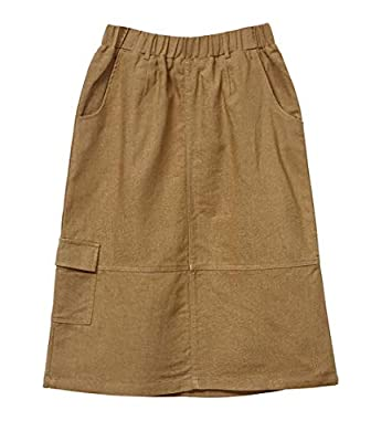 Womens Midi Skirts Knee Length with Pockets Summer Elastic Waist Cotton Linen A Line Scrub Skirt