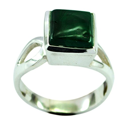 Jewelryonclick Natural Malachite Promise Rings Sterling Silver Fashion Jewelry Size 5,6,7,8,9,10,11,12 ()