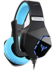 CAMKONG Over-ear Gaming Headset with Microphone for PS4 Xbox One PC Laptop Mac Tablet,Comfortable Stereo,LED Lighting,Noise Reduction and Volume Control