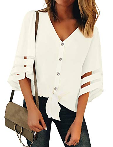 LookbookStore Women's Casual V Neck Mesh Panel Button Down Blouse 3/4 Bell Sleeve Tie Knot Summer Top Shirt Beige Size -