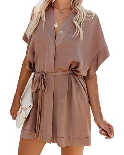 (BTFBM Women V Neck Button Down Short Sleeves Floral Print Casual Summer Dress with Belt (31_Khaki, X-Large))