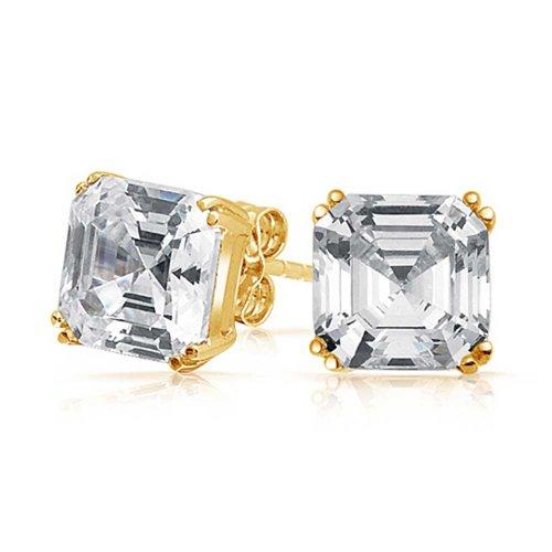 5 CTW Solitaire Square Asscher Cut CZ Prong Set Cubic Zirconia Stud Earrings For Women 14K Gold Plated Sterling Silver (Stud Asscher)
