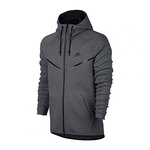 Nike Mens Sportswear Tech Fleece Windrunner Hooded Sweatshirt Carbon Heather/Black 805144-091 Size Small