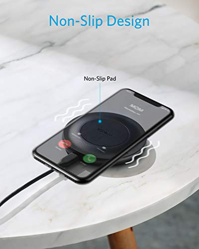 Anker 15W Max Wireless Charger with USB-C, PowerWave Alloy Pad, Qi Certified Fast Charging for iPhone SE, 11, 11 Pro, 11 Pro Max, X, Xs, Xr, Galaxy S20 S10 S9, Note 10, Note 9 & More (No AC Adapter)