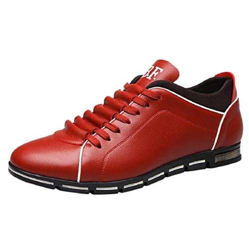 (Men British Style Business Casual Shoes Casual Faux Leather Shoes Lace Up Flat Sneakers by Lowprofile Red)