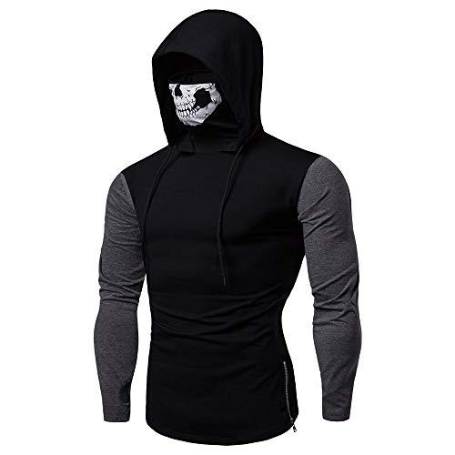 GOVOW Mens Skull Mask Pullover Hoodie Santa Cruz Shirt Flame Mag Tee - Black Daddy Logo Shirts T Shirt Azul Blue Flame Shorts