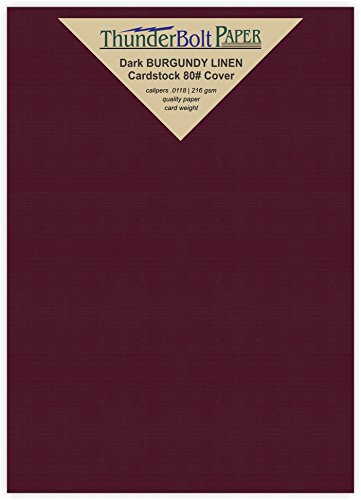 50 Dark Burgundy Linen 80# Cover Paper Sheets - 5.5
