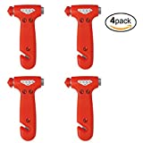 Emergency Preparedness Window Breaker Car Safety Hammer FOUR Pack Seat Belt Cutter Auto Escape or Rescue Tool - For Vehicle Emergency Kit - Use One For Each Automobile, Truck, SUV – Avoid Roadside Disaster In And Add To Your Auto Emergency Kit