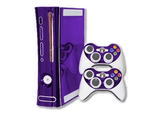 Microsoft Xbox 360 Skin (1st Gen) - NEW - PURPLE CHROME MIRROR system skins faceplate decal mod ()