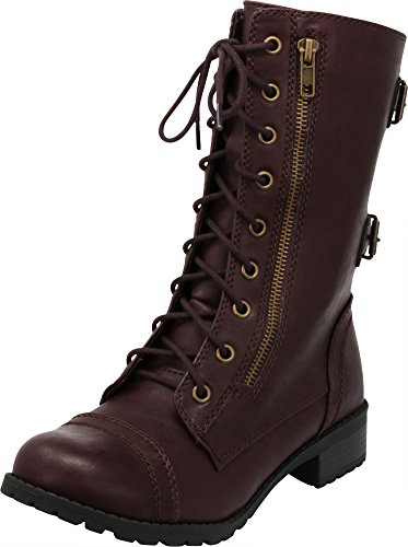 (Cambridge Select Women's Lace-Up Round Toe Buckle Zipper Chunky Heel Combat Boot,8.5 B(M) US,Wine Pu)